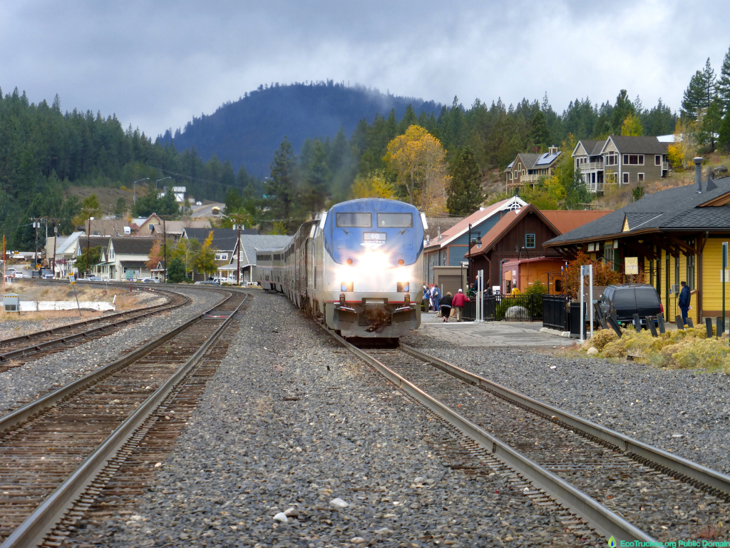 Amtrak Train at Truckee, CA Station, Oct. 15,2014