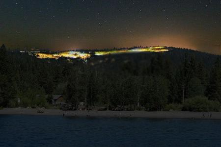 Lake Tahoe Skyline at Night with Lights