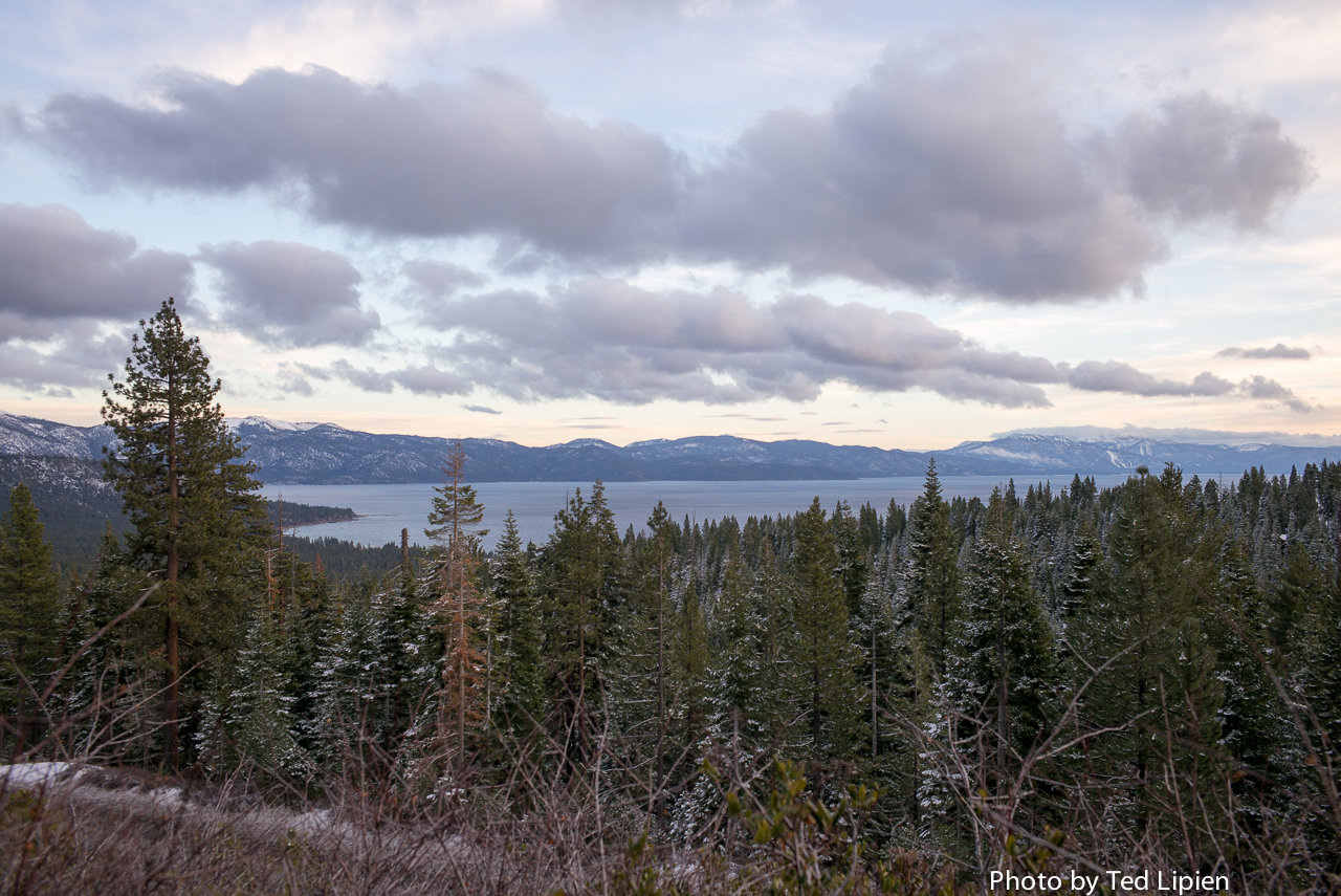 Lake Tahoe seen from Brockway Pass. December 16, 2014