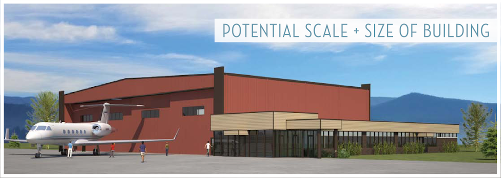 """Proposed New Combined Aviation Community Use Building in Truckee."" We prefer to call it a tax-subsidized jet hangar for environmentally-challenged millionaires."
