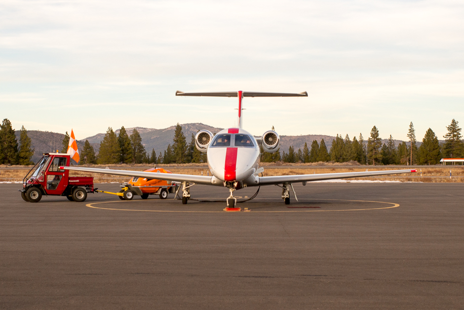 JetSuite Plane at Truckee Airport. JetSuite is one of several companies offering semi-commercial plane travel to Truckee for affluent travelers who seem unconcerned about the damage private jets do to the quality of life of local residents and the environment.