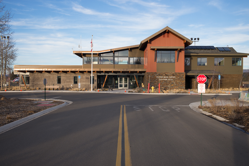 Modern and luxurious Truckee Airport Terminal building which the vast majority of local residents can't afford to use for private plane travel.
