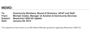 2015 Truckee Airport Memo on 2004 Jet Noise Limits Resolution