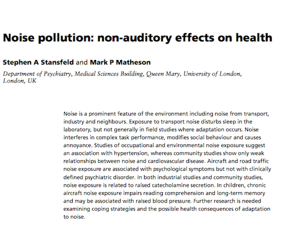 Noise Pollution Effects on Health